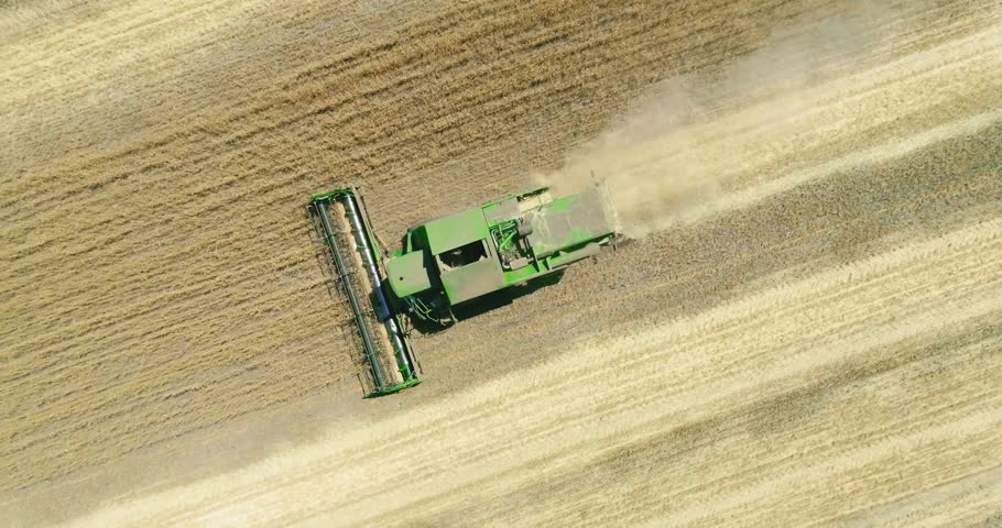 Modern combine harvester working on the wheat crop. Aerial view.   Shutterstock HD Video #1014619046