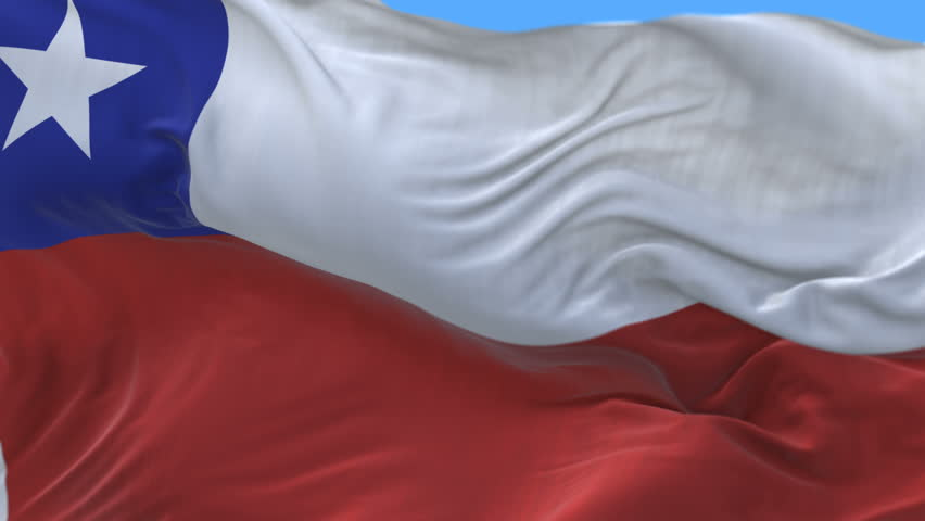 4k seamless Close up of Chile flag waving in wind.A fully digital rendering,The animation loops at 20 seconds.flag 3D animation with alpha channel included. cg_06372_4k