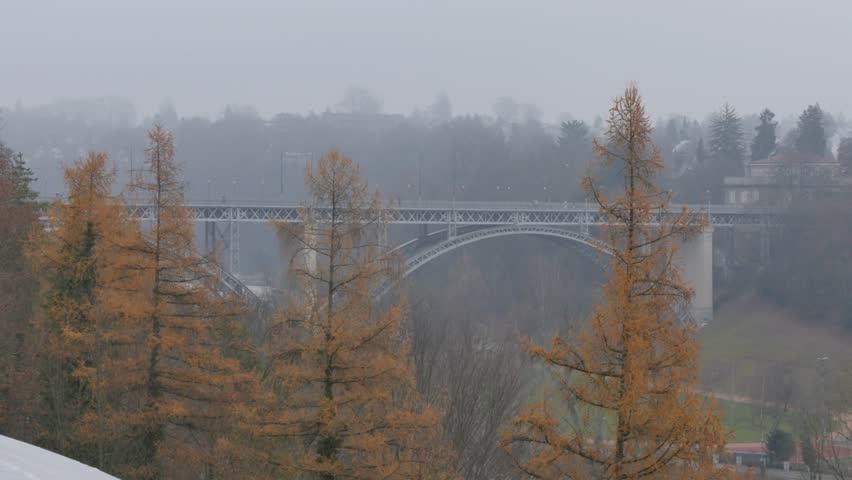 Pan across the city of Bern and Aare River in Bern, Bernese Oberland, Canton of Bern, Switzerland, Europe