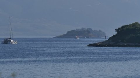 The Adriatic Sea from Korcula Town, Korcula Island, Dalmatia, Croatia, Europe