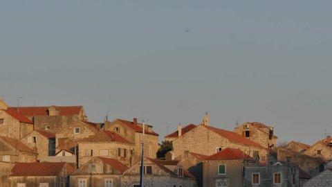 Korcula Old Town at sunset, Korcula, Dalmatia, Croatia, Europe