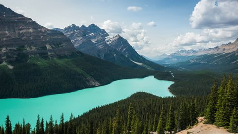 Time lapse view of Peyto Lake in Banff National Park, Canadian Rockies, Alberta, Canada. Zoom in.