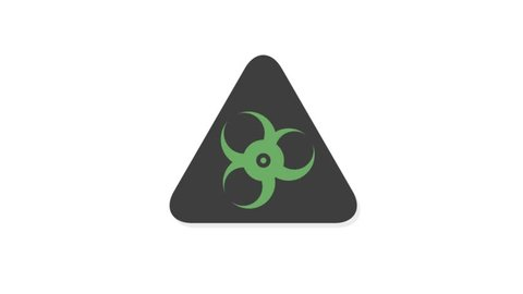 Warning Signs icons animation with white  background.Warning Biohazard icon animation with white background.