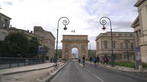 Montpellier, France - April, 2017: Porte du Peyrou on Rue Foch in Montpellier.