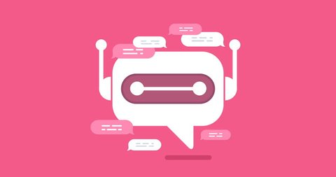 animation modern flat chat bot with speech bubble icons on pink background. Support cartoon smart robot design.