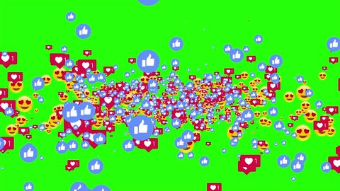 Izmir/Turkey - 03.08.2018: Facebook Smiley face, heart and like buttons are together.  Increasing social media accounts in green screen