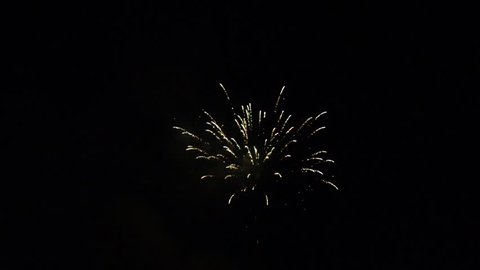 Colorful Firework lights in the night sky. Fireworks show.  New year's eve fireworks. Happy New Year. Pyrotechnics