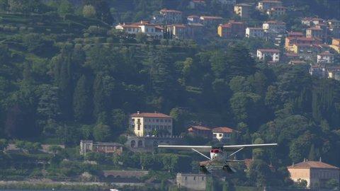 Floatplane taken off from Lake Como in Italy