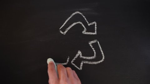 Man Drawing Recycle Sign with Chalk on Blackboard. Recycling 4K Concept Background.