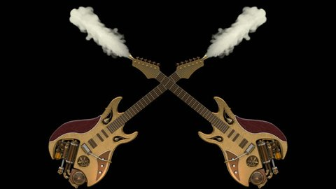 Two smoking Steampunk guitars animation. 2 in 1 video versions in 4K for stage design, movies, music TV shows, intro, news, commercials, retro, fantasy and steampunk related projects. ALPHA MATTE.