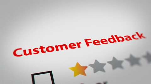Close up of Checkbox Star Ratings (Customer Feedback). Checking 5 Star Ratings (Excellent) Option on Monitor Screen.