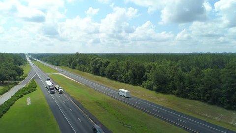 Aerial video Highway I10 Alabama USA