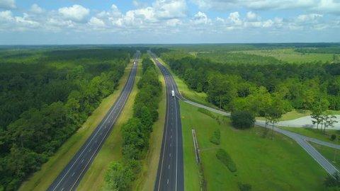Aerial footage of Highway I10 Alabama