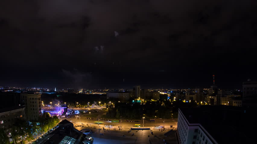 Kharkiv city from above at night timelapse. Aerial view of the city center and freedom square with fireworks. Ukraine. | Shutterstock HD Video #1014936286