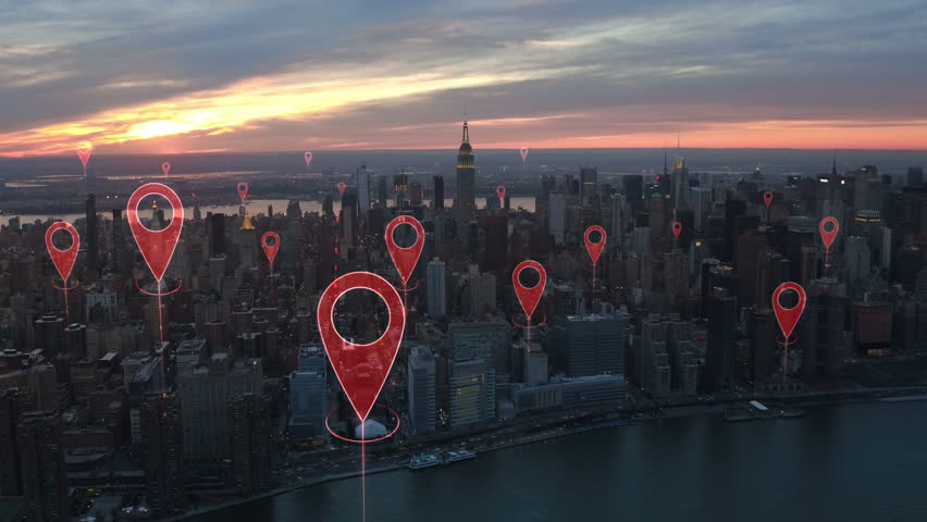 Localization icons in a connected futuristic city.  Technology concept, data communication, artificial intelligence, internet of things. Aerial smart city. New York City skyline. | Shutterstock HD Video #1014944266