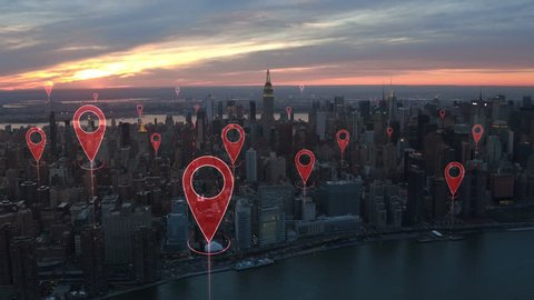 Localization icons in a connected futuristic city.  Technology concept, data communication, artificial intelligence, internet of things. Aerial smart city. New York City skyline.