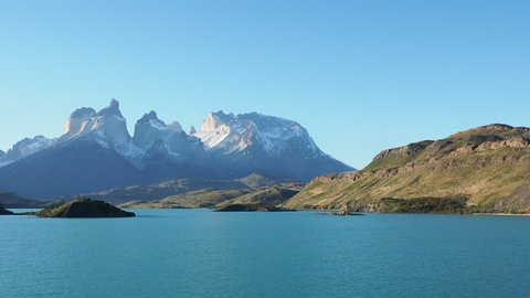 View over Lake Pehoe towards Paine Grande and Cuernos del Paine, Torres del Paine National Park, Patagonia, Chile