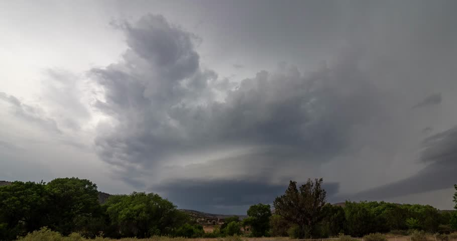 Progression of a supercell over the hills west of Roswell, New Mexico, on 21 May 2018.