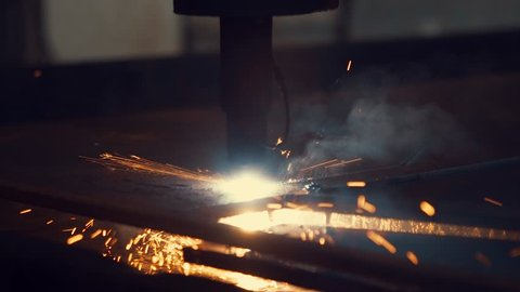 Work of the plasma cutting machine for metal cutting close up