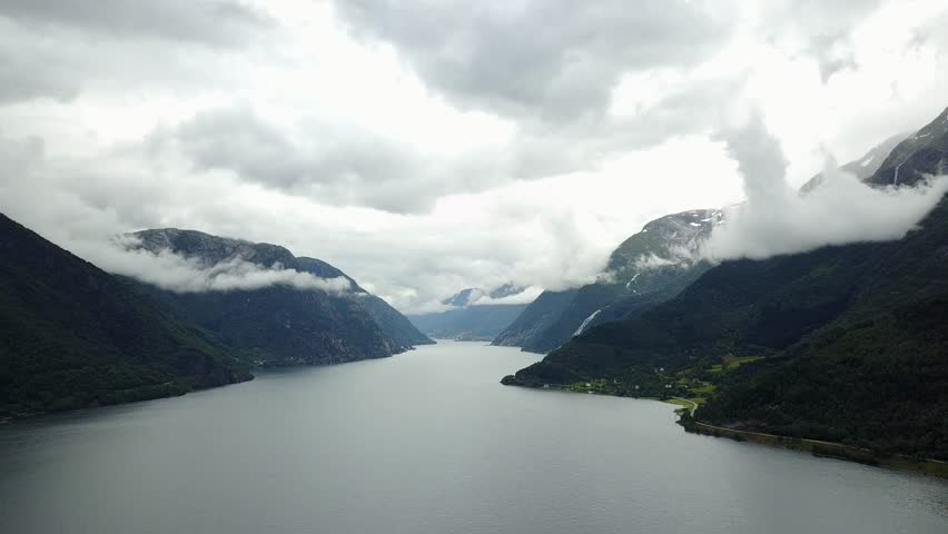View to Fjord and water from drone on air Norway | Shutterstock HD Video #1015075066