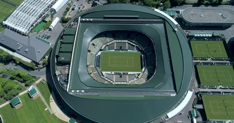 Wimbledon, London / United Kingdom (UK) - 07 02 2018: Aerial view of the Number 1 court at The All England lawn tennis club, Wimbledon, located 5 miles south-west of Central London