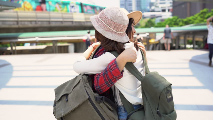 Traveler backpacker Asian women lesbian lgbt couple travel in Bangkok,  Thailand. Happy young female spending holiday trip at amazing landmark and  enjoy her ...