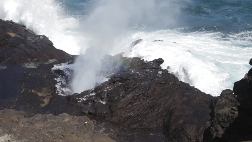 Ocean Waves Crashing On Cliffs and Blowhole in Hawaii #1015114006