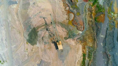 Minerals, aerial view industrial quarries, mining marble and granite, special machinery, view from height.