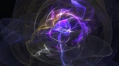 Abstract animated violet motion background of spinning spheres with lines and waves on black background. VJ Seamless loop.