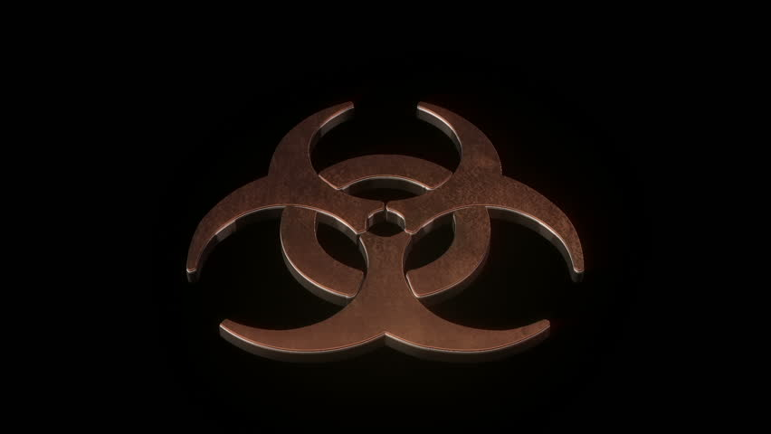 Biohazard symbol catching on fire.