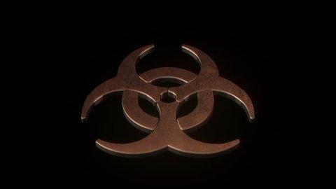 Biohazard symbol catching on fire.