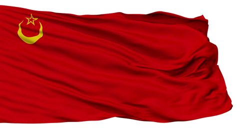 Union Of Islamic Soviet Republics Flag, Isolated View Realistic Animation Seamless Loop - 10 Seconds Long