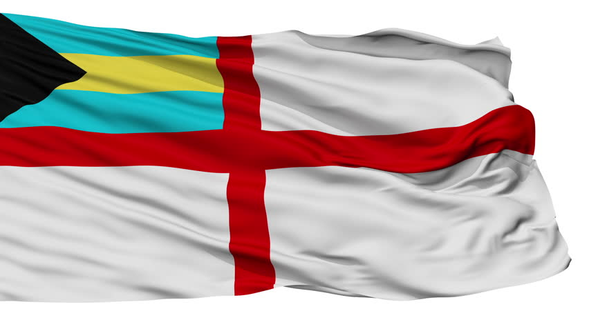 Naval Ensign Of The Bahamas Flag, Isolated View Realistic Animation Seamless Loop - 10 Seconds Long