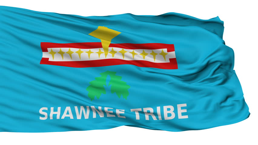 The Shawnee Tribe Of Oklahoma Indian Flag, Isolated View Realistic Animation Seamless Loop - 10 Seconds Long