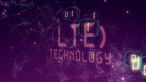 Abstract background with animation word of LTE from metallic net. Animation of seamless loop.