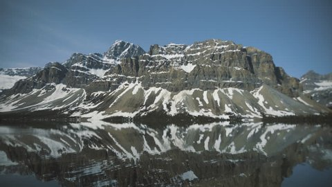 4K Bow lake, Banff, Alberta - Mirror reflections of mountains - Panning right, wide angle