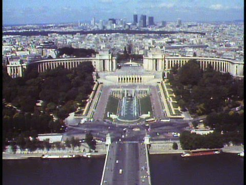 PARIS, FRANCE, 1988, View over Paris from Eiffel Tower, the Trocadero fountains
