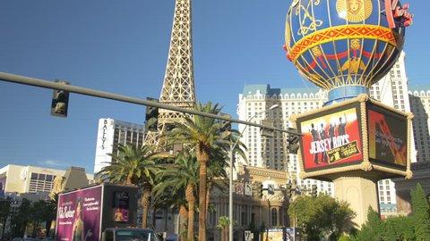 Las Vegas, United States - July, 2016: Paris Las Vegas with the Eiffel Tower replica seen on Las Vegas Boulevard
