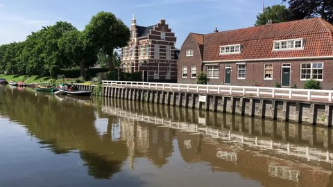 Zuidoostersingel canal in Harlingen, Friesland, The Netherlands