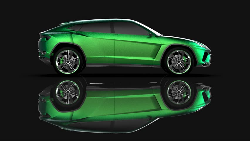 The newest sports all-wheel drive green premium crossover in a black studio with a reflective floor | Shutterstock HD Video #1015258936