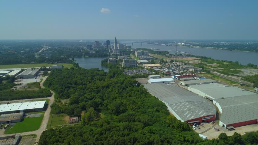 Aerial approach Downtown Baton Rouge Louisiana USA 4k 24p