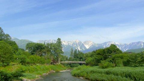 Suspension bridge of Oide in Hakuba, Nagano, Japan.