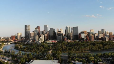 City Of Calgary at 9 PM on Thursday evening. Lovely summer night as the city prepares for Stampede.