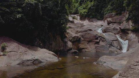 Aerial footage of Wang Mai Pak warterfall