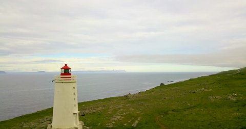 Lighthouse with sea in background in Húnaþing vestra, Northern Iceland