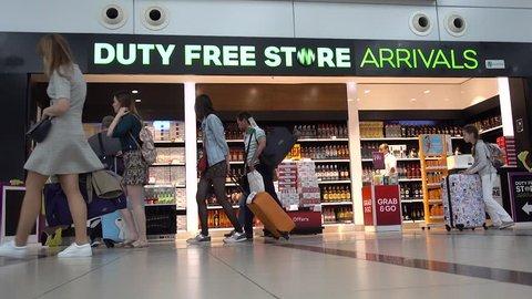 Antalya, Turkey -  May, 5, 2018. Duty-free shop inside the airport terminal.