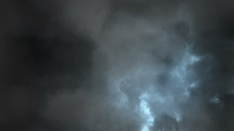 Digitally generated animation of beautiful lightening storm in clouds