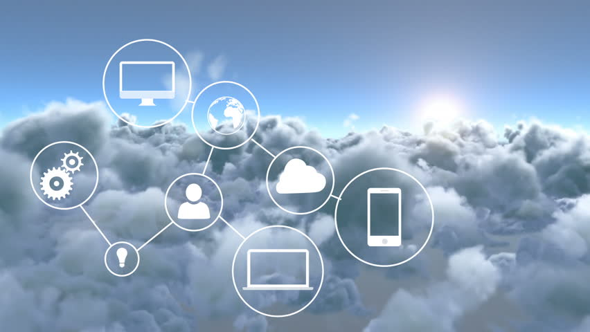 Digitally generated connected device icons against clouds | Shutterstock HD Video #1015306636