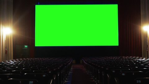 "Cinema with Green Screen. You can replace green screen with the footage or picture you want with ""Keying"" effect in AE  (check out tutorials on YouTube)."