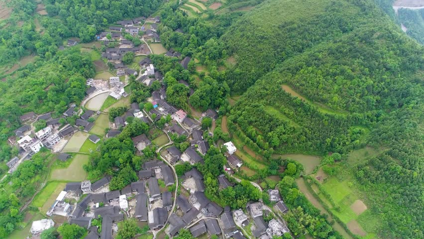 Aerial view, green rice and vegetable fields in poor village in China, Asia. Terraced rice  & field farm in the mountain & rural village with workers. Traditional agriculture & sustainable development | Shutterstock HD Video #1015320916